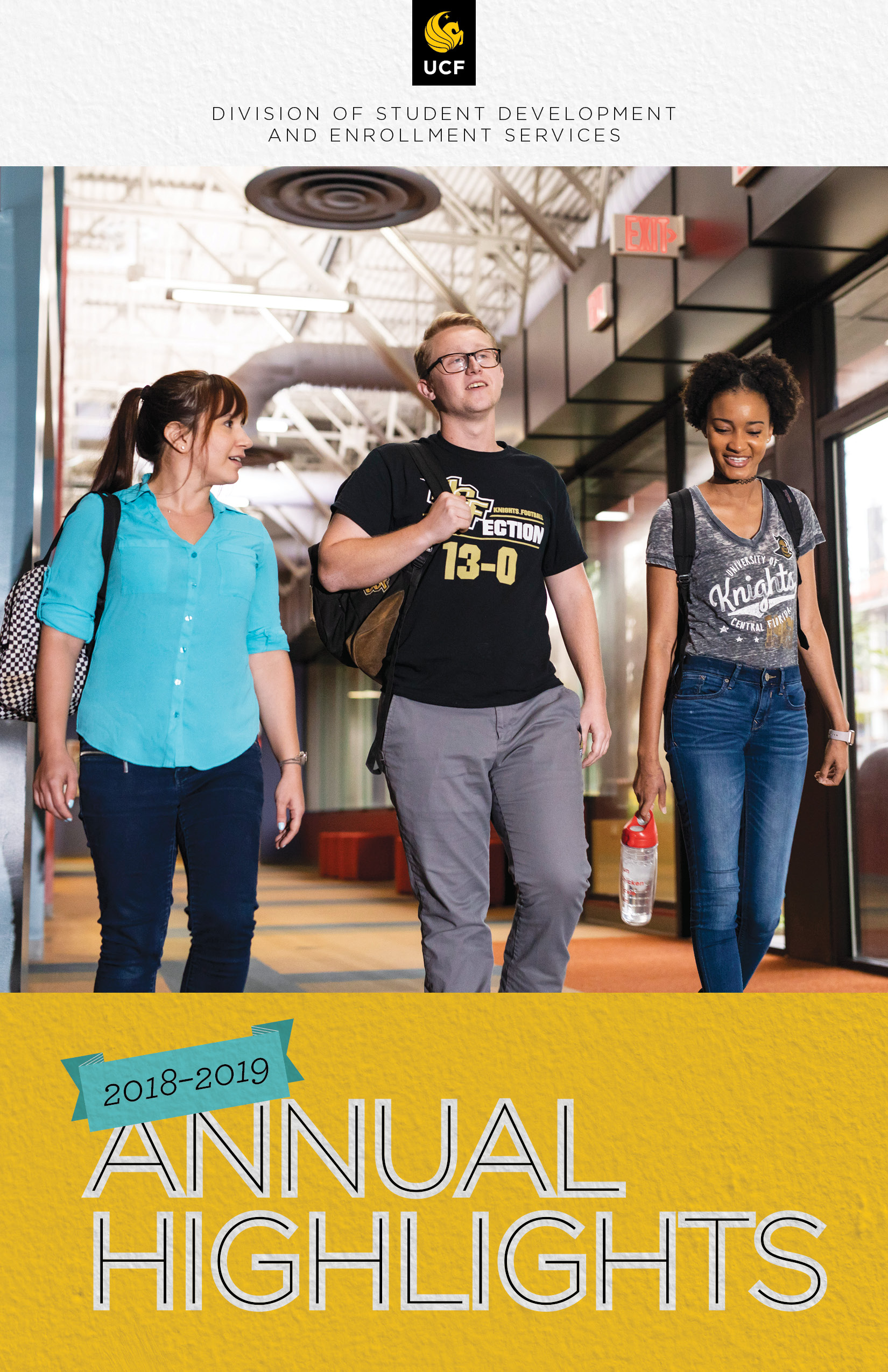 Cover of 2018-2019 Annual Highlights showing three students walking on campus